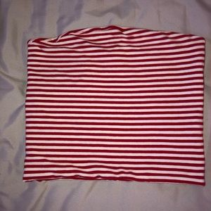 Brandy red striped tube top